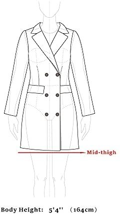 Women's Buffalo Checks Double Breasted Notched Lapel Winter Long Plaids Trench Coat