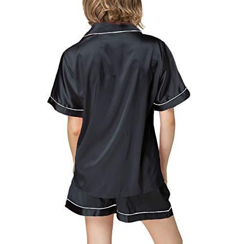 Women's Silky Satin Pajamas Sleepwear Short and Long Button-Down Pj Set