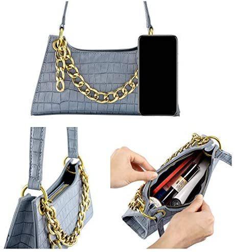 Women Small Crocodile Tote Clutch Shoulder Handbag Classic Troc Purse Wallet Bag Chain Link Handbag PU Leather Zipper