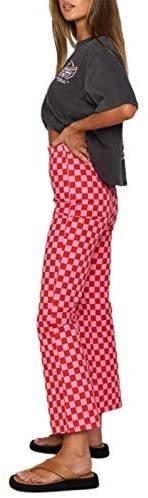Plaid Color Block Sweatpant for Women Fashion Loose High Waist Trousers Straight Leg Vintage Casual Streetwear Pants