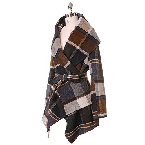 Women's Turn Down Shawl Collar Earth Tone Check/Black White Grid/Black/Plum Wool Blend Coat