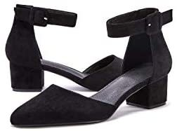Women's Pointed Toe Pumps Ankle Strap Buckle Chunky Block Heel Dress D'Orsay Sandals