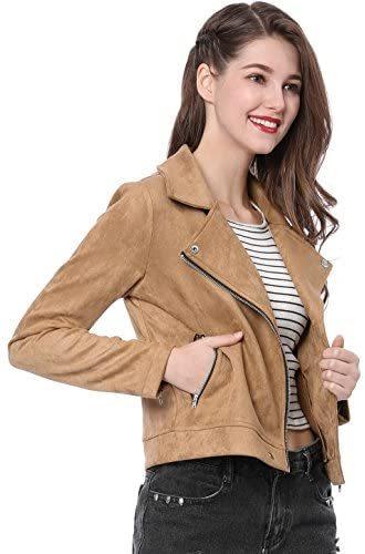 Women's Short Soft Zip Up Faux Suede Biker Moto Jacket