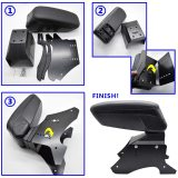 XUKEY Armrest Box Universal Central Console Arm Rest Store Sliding Top Content Accessories Compartment