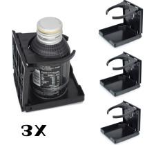 3X Black Universal Car Auto Folding Beverage Drink Cup Bottle Holder Stand Mount