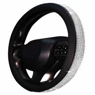 PU Leather Bling Crystal Steering Wheel Cover Protector Diamond Rhinestones Car
