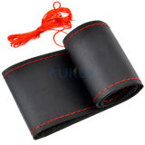 Black/Red Genuine Leather DIY Car Steering Wheel Cover With Needles and Thread