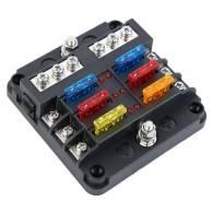 6-Way Circuit Blade Fuse Box Block LED Indicator Car 12V 32V Holder Marine Boat