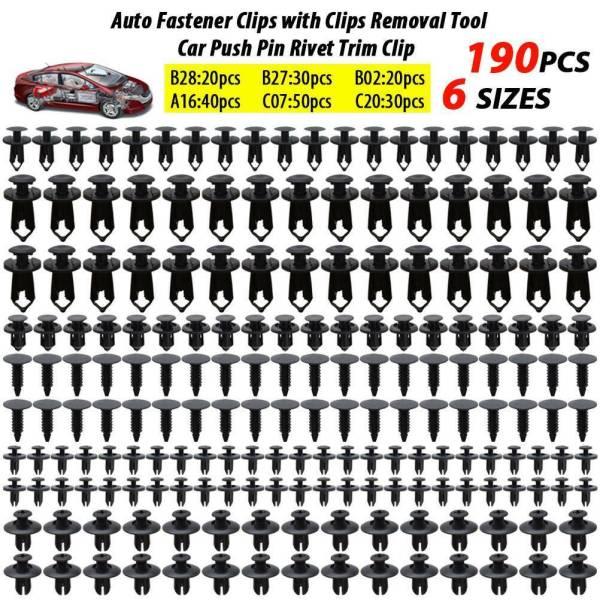 190X Auto Fastener Push Pin Rivets Clip Bumper Fender Universal Car 6 Sizes