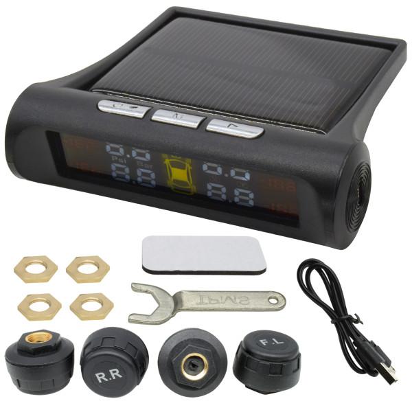 Car Wireless Solar TPMS LCD Tire Pressure Monitoring System w/ 4 External Sensor