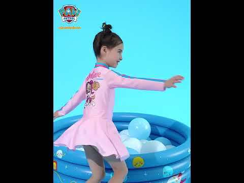 PAW Patrol Girls One-Piece Swimsuit Long Sleeve Skirt Cartoon Pink Surfing Swimwear