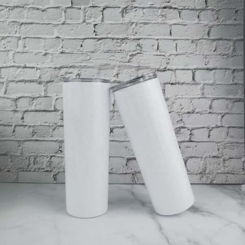 Case of 30*20oz Sublimation blank straight skinny tumbler stainless steel vacuum double walled with lid and plastic straw