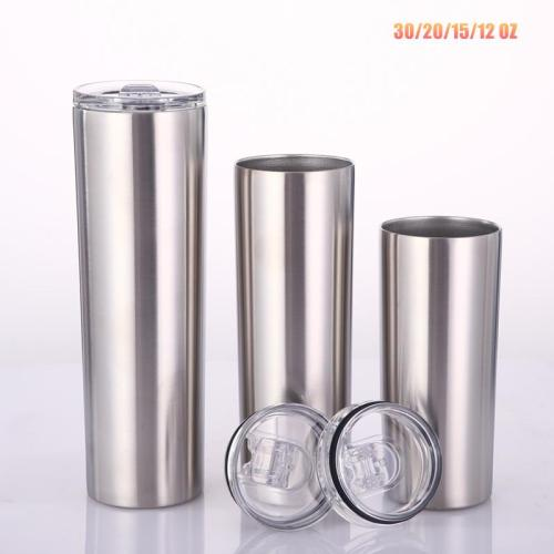 20oz Skinny Tumblers Stainless steel Vacuum Double Wall With Lid And Plastic Straw