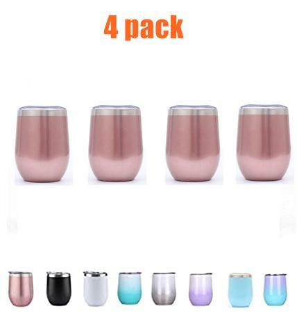 4pcs*12 Ounce Stemless Wine Tumbler with Lid and Straw Stainless Steel Double Wall Vacuum Insulated