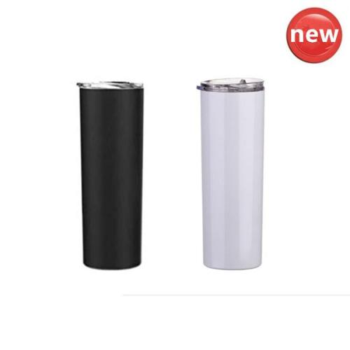 10pack*30oz skinny tumbler black white stainless steel double wall insulaiton with lid and straw
