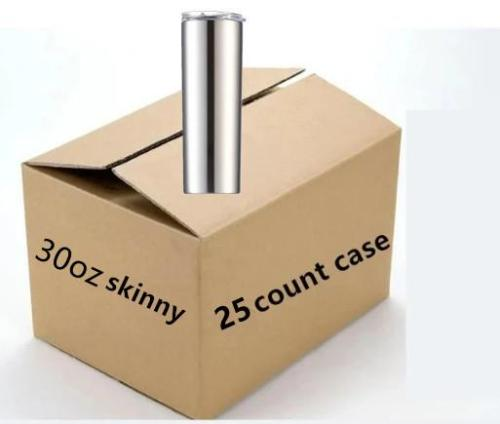 Case of 25 *30oz Skinny Tumblers Stainless steel vacuum double walled with Lid and straw