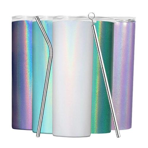 20oz glitter skinny strainght tumbler black white stainless steel double wall insulaiton with lid and straw