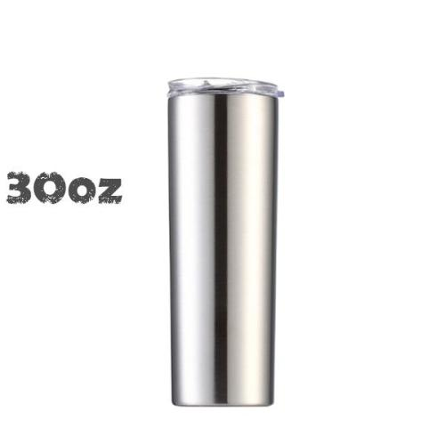 30oz Skinny Tumblers Stainless steel Vacuum Double Wall With Lid And Plastic Straw