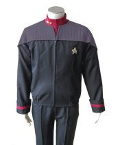 Star Trek Nemesis NEM Duty Uniform Halloween Cosplay Costume Coat Jacket+Shirt+Badge