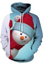 Chirstmas Hoodie Snowman Pattern Pullover Sweatshirt