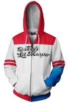 Suicide Squad Harley Quinn White Red Pattern Hoodie Girls Zip Up Sweatshirt