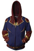 Teen Zip-Up Hoodie Avengers 4 Captain Marvel Carol Danvers 3D Sweatshirt