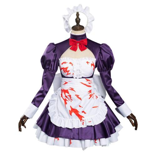 Anime High-Rise Invasion Maid Dress Outfit Maid-fuku Kamen Halloween Carnival Suit Cosplay Costume