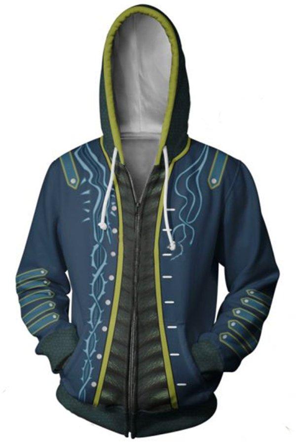 Teen Hoodie Devil May Cry Vergil Zip Up Sweatshirt Adult Unisex