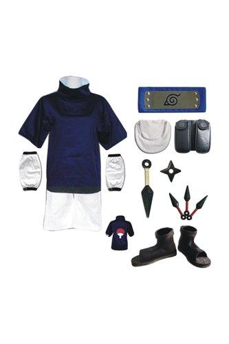 Naruto: Shippuden Sasuke Uchiha Outfit Kids Children Version Cosplay Costume