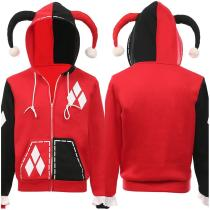 Harley Quinn Hoodie Zip Up Jacket Sweatshirt Halloween Carnival Suit Cosplay Costume for Juniors Teens