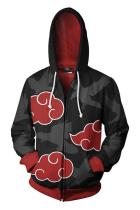 Teen Hoodie Naruto Akatsuki Red Cloud 3D Zip Up Sweatshirt Unisex