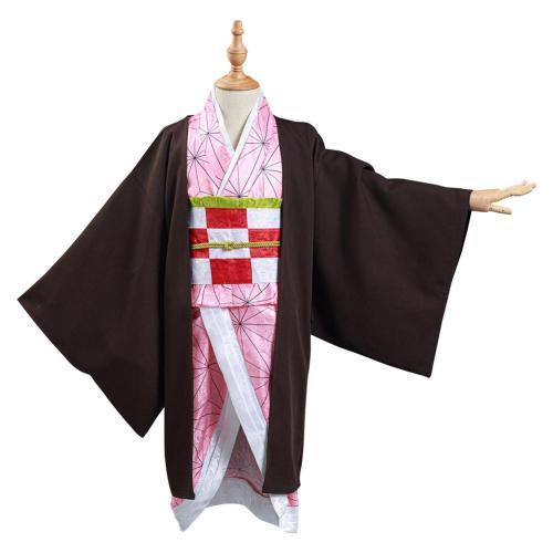 Demon Slayer: Kimetsu no Yaiba Kids Kimono Outfits Kamado Nezuko Halloween Carnival Suit Cosplay Costume