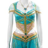 Aladdin the Movie Princess Jasmine Costume Naomi Scott Gown Blue Dress Cosplay Costume