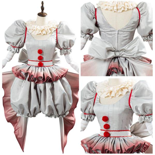 Pennywise Cosplay Costume Horror Pennywise The Clown Costume Outfit for Women Girls Halloween Carnival