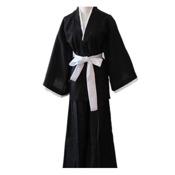 Anime Bleach Kuchiki Rukia Cosplay Costume Japanese Kimono Outfit Black