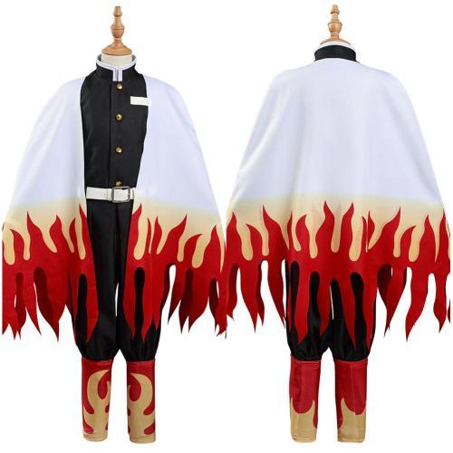 Demon Slayer: Kimetsu no Yaiba Kids Children Coat Pants Cloak Outfits Rengoku Kyoujurou Halloween Carnival Suit Cosplay Costume