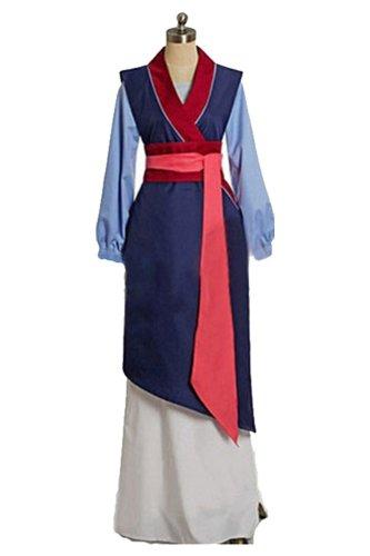 Disney Movie Mulan Hua Mulan Cosplay Costume Chinese Traditional Dress