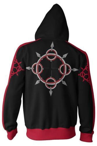 Teen Hoodie Kingdom Hearts Roxas 3D Zip Up Sweatshirt Unisex