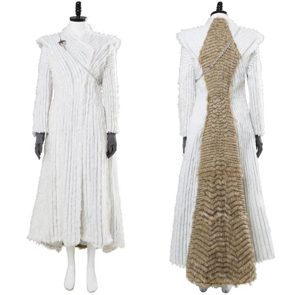 Game of Thrones Daenerys Targaryen Winter Outfit Season 7 E6 Dragonstone Snow Dress