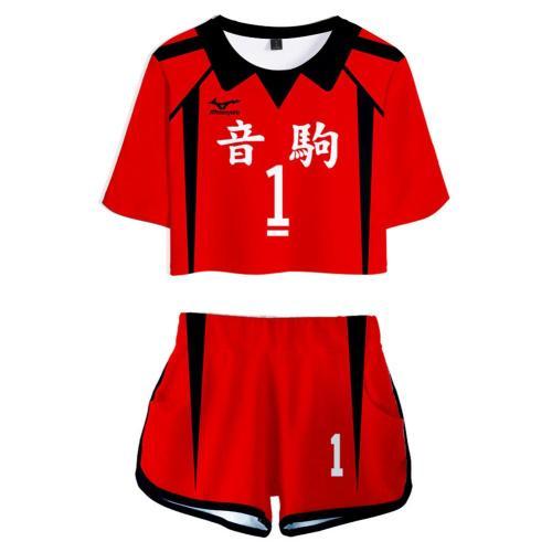 Haikyuu Nekoma High School NO 1 Kuroo Tetsurou Cosplay Costume  for Women Jersey Sports Wear Uniform Top Shorts