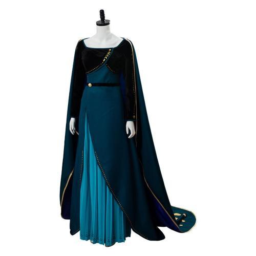 Frozen 2 Queen Anna Coronation Gown Dress Dark Green Cosplay Costume