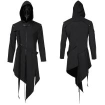 Plague Doctor Men Steampunk Gothic Hooded Jacket Coat Cosplay Costume Halloween Carnival Suit