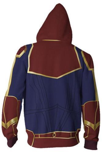 Teen Zip-Up Hoodie Avengers 4 Captain Marvel Carol Danvers 3D Sweatshirt