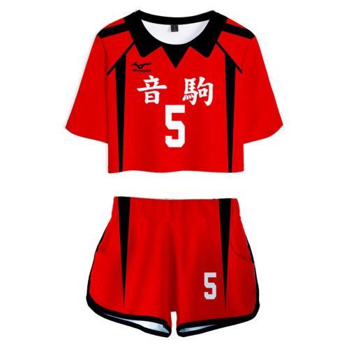 Haikyuu Nekoma High School NO 5 Kozume Kenma Cosplay Costume Women's Jersey Sports Wear Uniform Top Shorts
