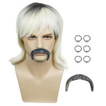 Tiger King Earrings Beard Costume Accessories Joe Exotic Dress Up Prop Kits Set Cosplay Wig