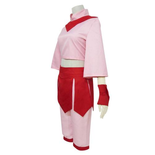 Anime Avatar The Last Airbender Ty Lee Cosplay Costume Adult Women Pink Dress Set Hanfu Halloween Carnival Wear