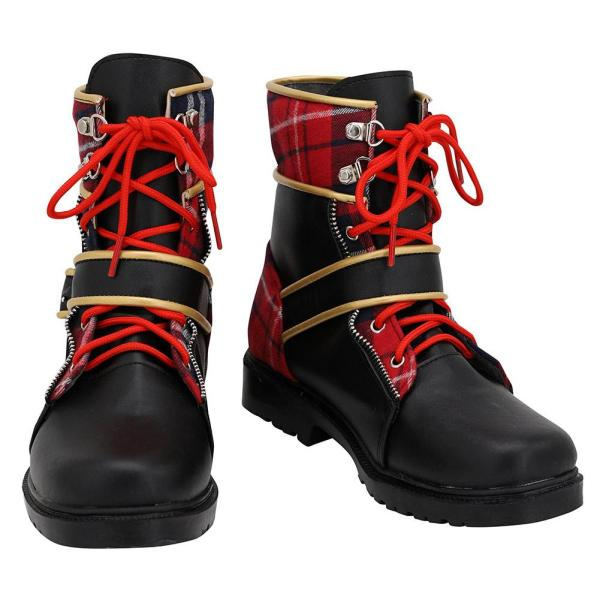 Twisted Wonderland Pomefiore Epel Felmier Black Red Boots Cosplay Shoes