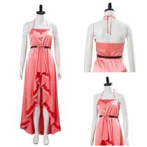 Final Fantasy VII:7 Remake Aerith Wall Market Cosplay Costume the Honeybee Inn Peach Pink Long Gown Halter Dress
