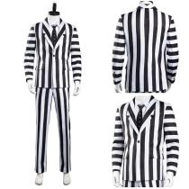 Beetlejuice Men Black and White Striped Suit Jacket Shirt Pants Outfit Adam Halloween Carnival Costume Cosplay Costume