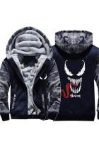 2018 Venom Symbiote Thick Fleece Camouflage Winter Jacket Zip Up Hoodie